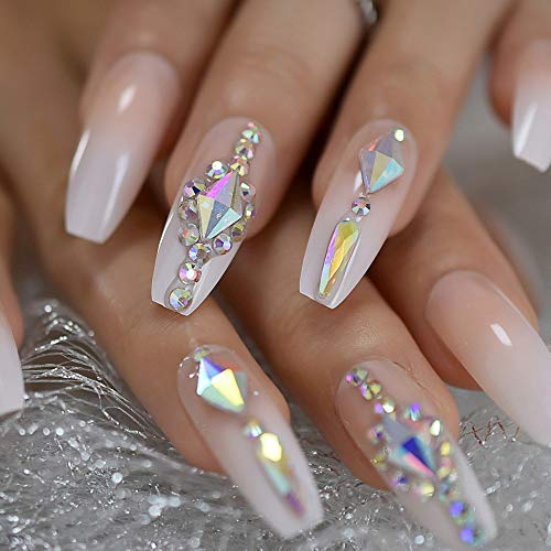 EchiQ Luxury Nails Custom Large Stones Decorated Nail Art Tips Luxe Icy Ombre Coffin Shape Press On Nails Natural with Glue Sticker