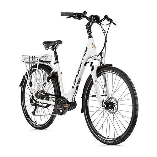 Motodak elektrische fiets City Leader Fox 28 inch Saga 2019 damesmotor Bafang 36 V aluminium 8 V Shimano Alivio wit