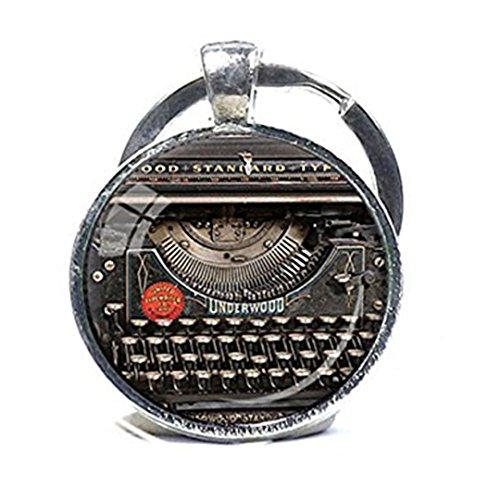 Vintage máquina de escribir llavero grabador grabadora de regalo para máquina de escribir llavero llavero del escritor negro rojo gris Vintage teclado llavero regalo del escritor