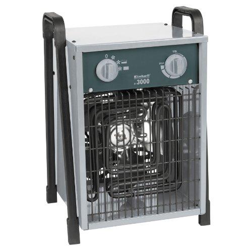 Einhell Elektro-Heizer EH 3000 (230 V, 3.000 W max., spez. Heizelemente, 2 Heizstufen, Axiallüfter, stufenloser Thermostatregler, Spritzwasserschutz)