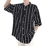 YACORESYA(夜行列車) メンズ シャツ 七分袖 ストライプ柄 大きいサイズ 夏服 通気 涼しい 軽い 柔らかい ゆったり オーバーサイズ ビッグシルエット