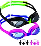 Kids Swim Goggles Leaking Anti Fog UV Protection Triathlon Child Swimming Goggles for Kids and Early Teens with Ear Plugs and Nose clip,Free Protection Case Blue, Pack of 2