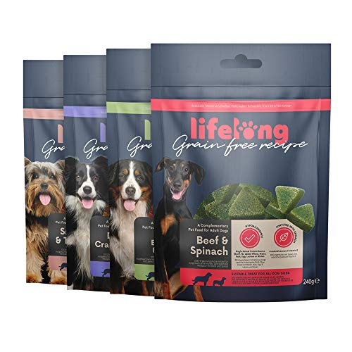 Amazon-Marke: Lifelong - Hundeleckerli, ohne Weizen mit Mono-Proteinquelle- gemischte Auswahl & Superfood (4 Packungen x 240gr)