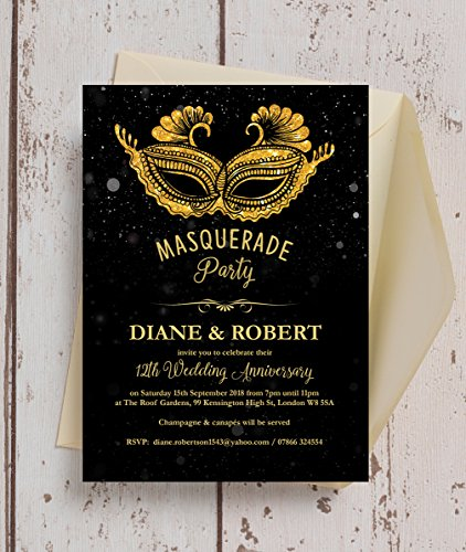 personnalisé Noir et Doré anniversaire de mariage de bal invitations avec enveloppes (lot de 10)