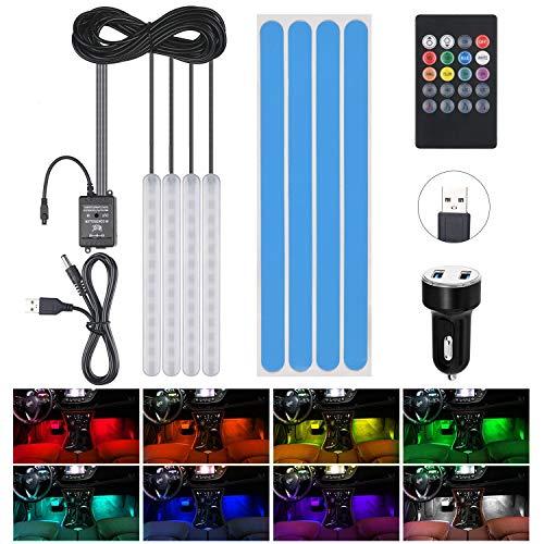Striscia LED Auto, URAQT LED Auto Interni 48 LED RGB, Illuminazione Auto Strisce 4 Modalità Musica 8 Colori, per Illuminazione e Decorazione Interna d'Auto Lampade di Decorazione con Telecomando…