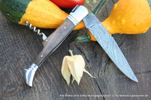 LAGUIOLE - Coltello in damasco con manico in noce, incluso cavatappi