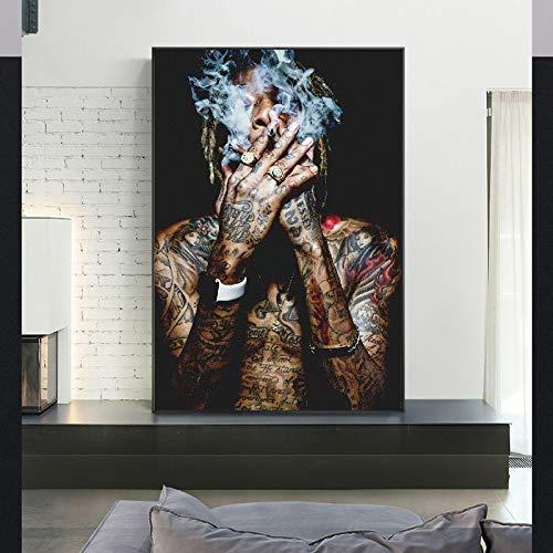 wZUN Carteles e Impresiones de Pintura en Lienzo de música Hip-Hop con imágenes murales únicas para la decoración del hogar de la Sala de Estar 60X90 Sin Marco