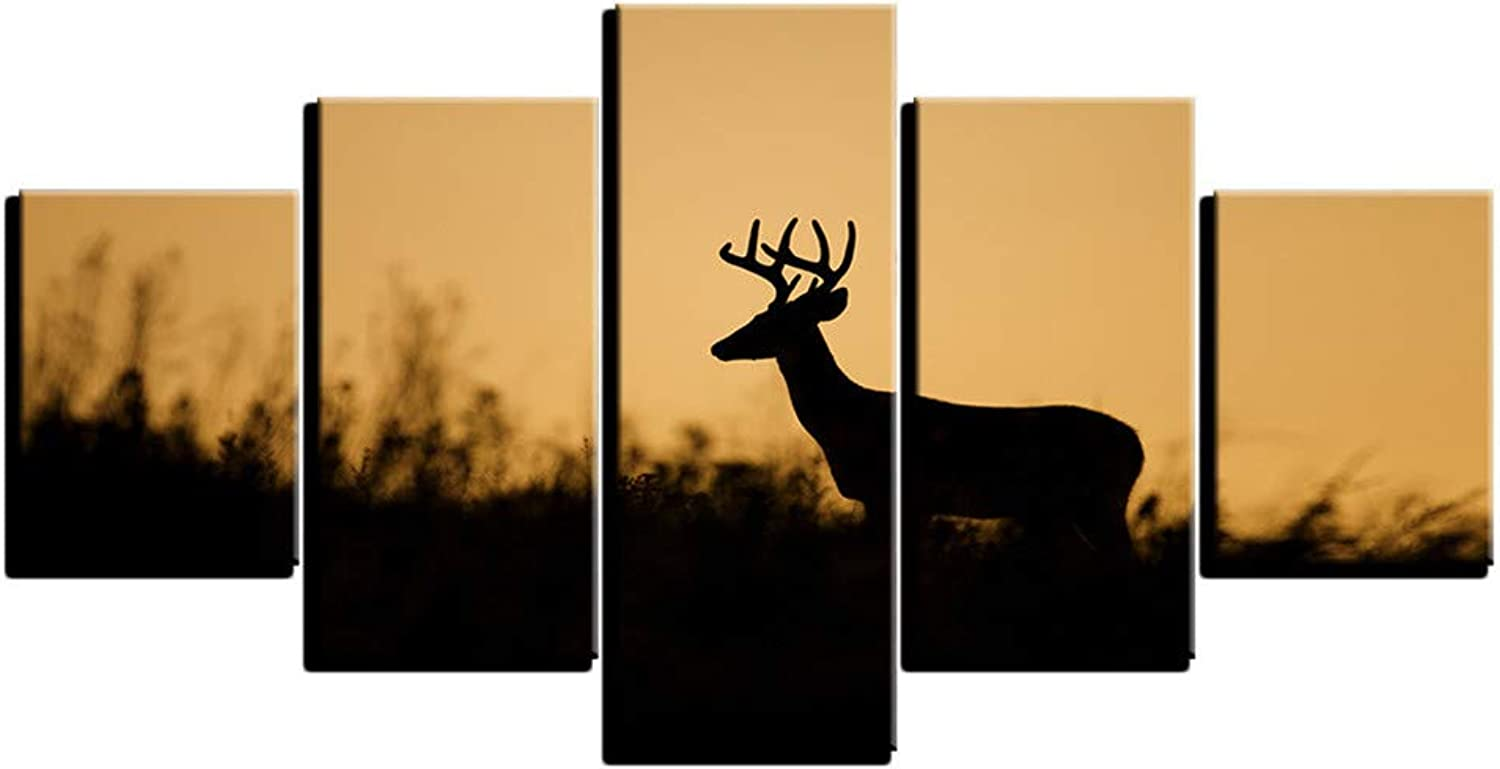 Loiazh  Image Printed On Non Woven Canvas  Wall Art Print Picture  Photo  5 Pieces  Frameless  Sunset Elk Silhouette 55x22 45x20x2 35x20x2(cm)