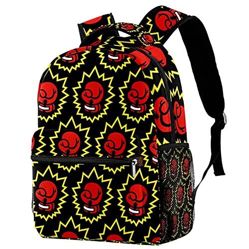 Schultasche Rote Boxhandschuhe Rucksack für Mädchen Casual Daypacks Drucken Tagesrucksack Schulrucksack Bunt Kindertasche Für Schule Reisen 29.4x20x40cm