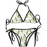 Qinckon Bikini, piñas Frutas y rodajas Patrón Mujeres Traje de baño Vendaje Bikini Set Sujetador Push-up Acolchado Traje de baño