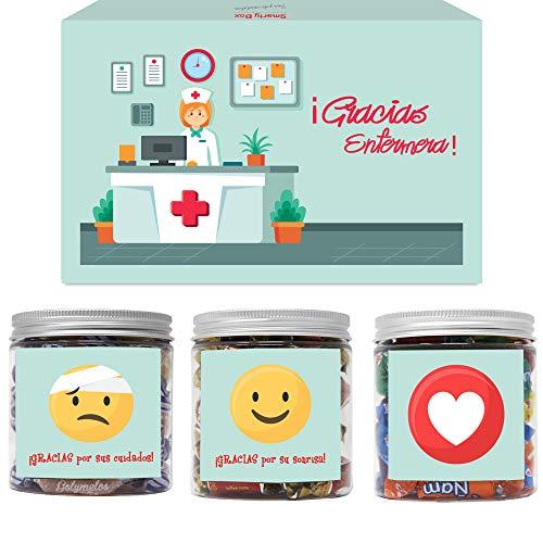 SMARTY BOX Regalo para Enfermera, Regalo Original Chuches, Caja de Caramelos y Gominolas Sin Gluten, con Frases de agradecimiento, Golosinas, Chucherías Dulces, Fabricado en España