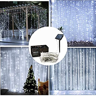 IMAGE Solar Curtain Lights 8 Modes 9.8x9.8 Feet Solar String Lights for Wedding Party Home Decoration Backdrops Full Waterproof UL Safety Standard White