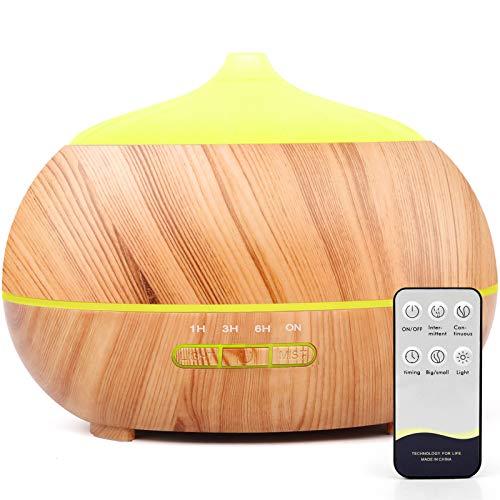 500ml Aroma Diffuser, Luftbefeuchter Ultraschall Duftlampe mit 7 Farben LED mit Fernbedienung