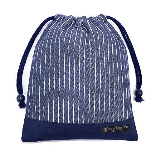 巾着 中 マチ無し給食袋(ネームタグ付き) ピンストライプ・インディゴ N7070500