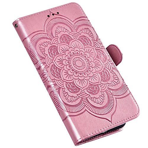 QPOLLY Kompatibel für Huawei Nova 5 Hülle,PU Leder Klapphülle Mandala Blumenmuster Ledertasche mit Kartenfach im Brieftasche-Stil Magnet Schutzhülle Standfunktion Handytasche Book Case,Roségold