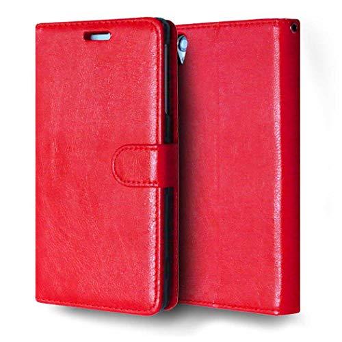 Sony Xperia Z3 Hülle, CAXPRO® Handyhülle Premium Leder Brieftasche Flip Schutzhülle mit Standfunktion und Kartenfach für Sony Xperia Z3, Rot