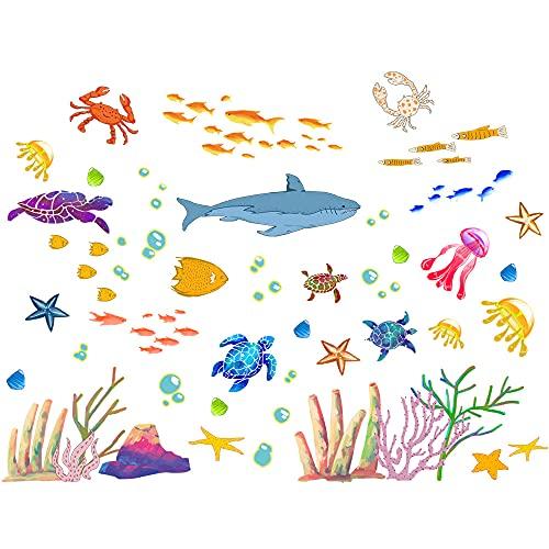 Winhappyhome Dibujos animados animales subacuáticos patrón estrella de mar de mar de arte de la pared para el dormitorio de la guardería