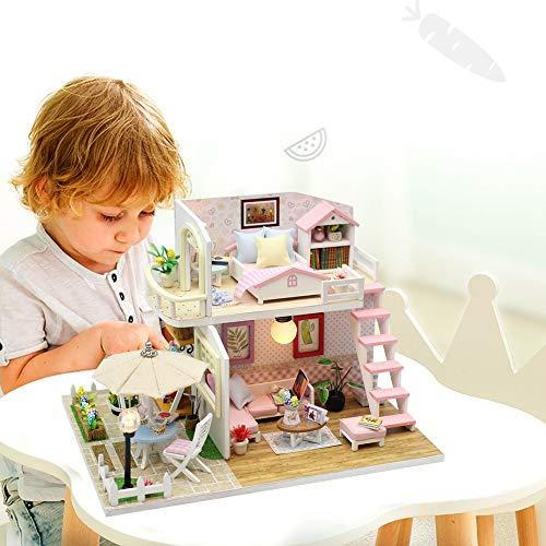 wosume Miniatura casa delle Bambole Fai-da-Te, casa delle Bambole in Miniatura casa delle Bambole Fatta a Mano in Legno 3D per Regalo di Compleanno pe