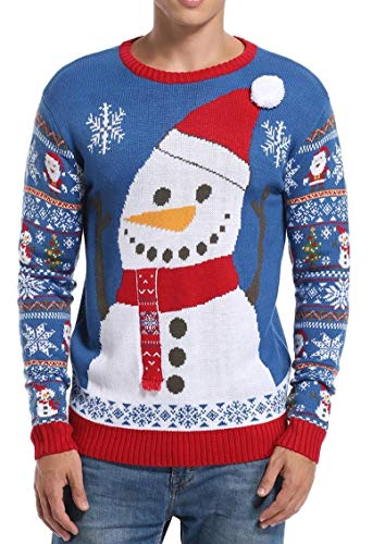 Daisysboutique Men's Christmas Holiday Snowman Sweater Cute Ugly Pullover (Large, Big Smile)