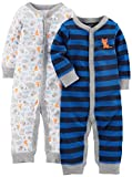 Simple Joys by Carter's Baby Boys' 2-Pack Cotton Footless Sleep and Play, Animals/Blue Stripe, 3-6 Months