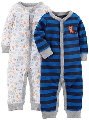 Simple Joys by Carter's Baby Boys' 2-Pack Cotton Footless Sleep and Play, Animals/Blue Stripe, 6-9 Months