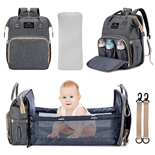 3 in 1 Diaper Bag Backpack Travel Bassinet Portable Baby Bed, Baby Diaper...