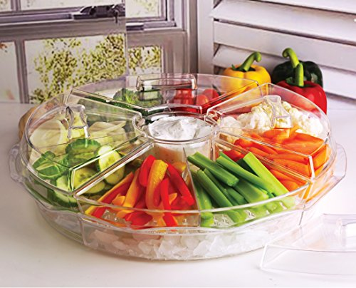 Circleware 10043 Acrylic 8 Section Cold Chip & Dip Salad Snack Dessert Bowl Set with Lids & Ice Serving Preserving Tray Dish, 16.5', Clear