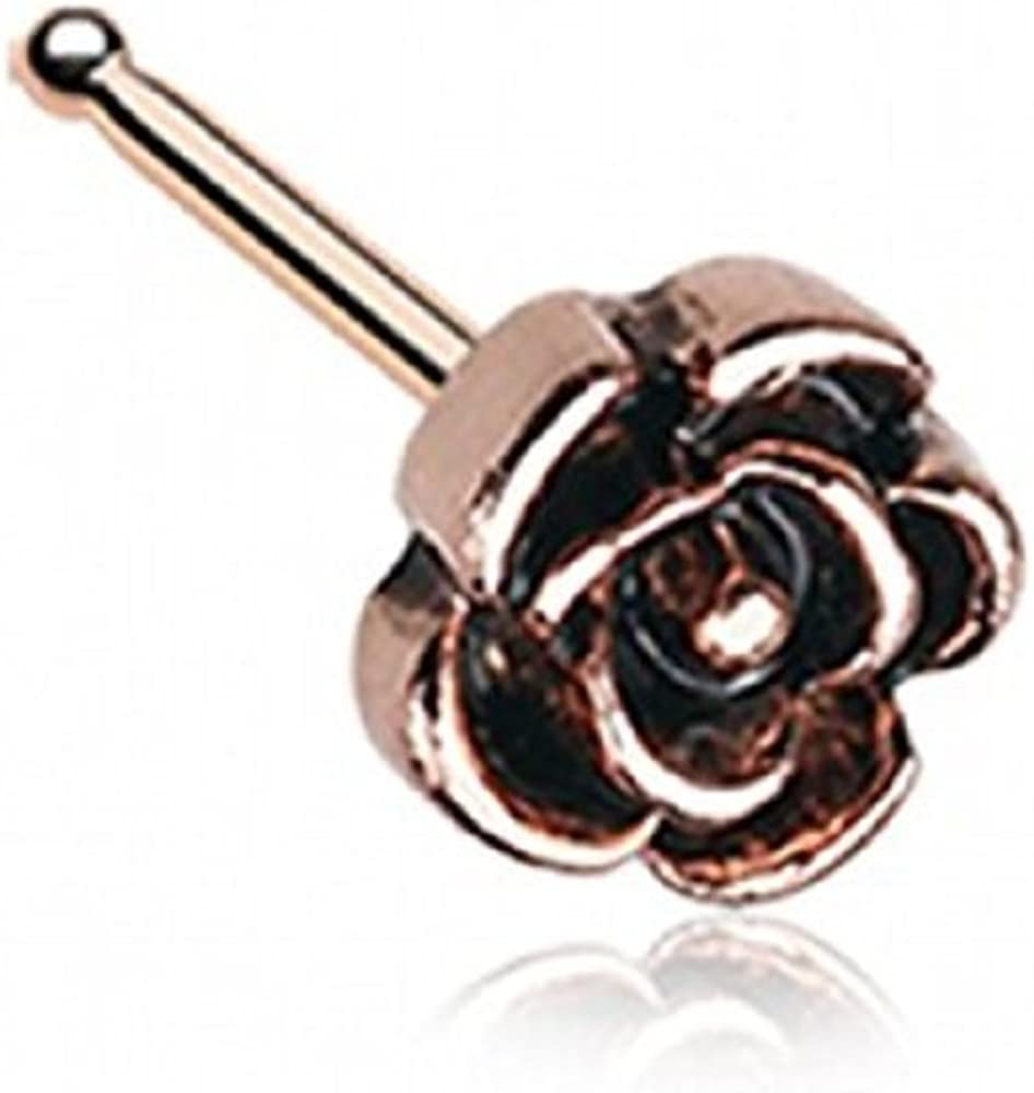 WildKlass Jewelry Vintage Rose Icon Nose Stud Ring 316L Surgical Steel