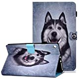 Coopts - Funda para Kindle Fire HD 10 Tablet 7ª generación 2017 / 5ª generación 2015 Release, Piel sintética función Atril Plegable para Amazon Fire HD de 10,1 Pulgadas C-Smile Husky