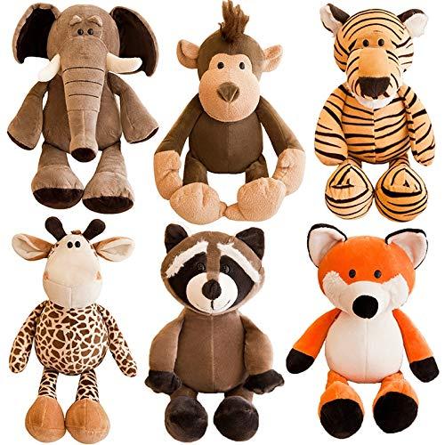 nobrand Peluche Juguete 25cm Cute Stuffed Animals Peluche Juguete Mapache Elefante Jirafa Zorro León León Tigre Mono Perro Peluche Animal Juguete para Niños Juguetes Blandos