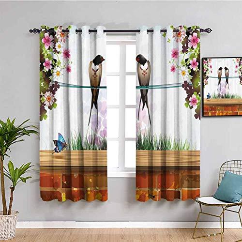 Nature Verdunkelungsvorhang, Garten mit Ziegelmauer, zwei niedliche Schwalben, Schmetterling, blühende Frühlingsblumen, klarer Himmel, leicht zu reinigen, mehrfarbig, 160 x 160 cm (B x L)