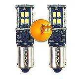MCK Auto H6W BAX9S - Bombillas LED CanBus ámbar naranja de repuesto, indicadores delanteros traseros, diseño delgado sin errores - Transforma tu viaje