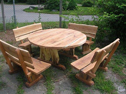 KJR Holzmanufaktur Rustikale Gartenmöbel, Sitzgarnitur,Sitzgruppe aus Eiche, rund, massiv 200 cm