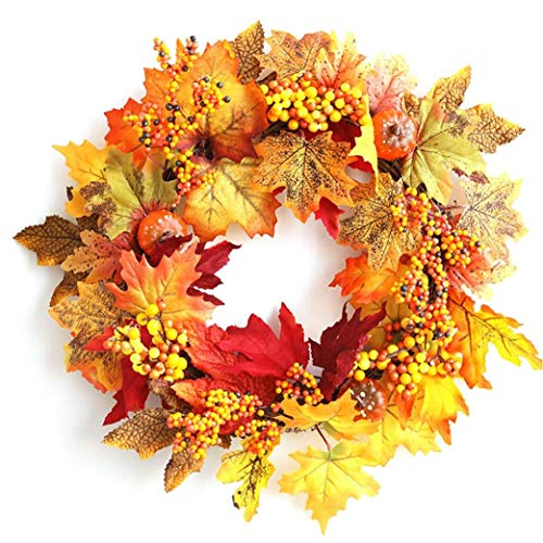 Maple Leaf Pumpkin Wreath Garland Berry Ornaments Vine Pendant Autumn Them for Halloween Door Decoration Good Choice Utilities