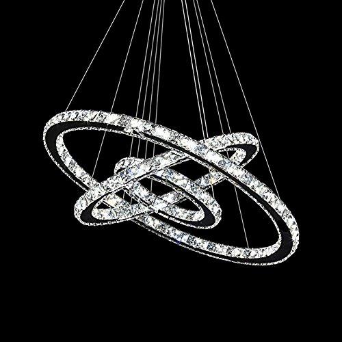 MCTECH® 72W Luxus Modernen Kristall Anhänger Kronleuchter Pendelleuchte Führte Deckenleuchte mit Drei Ring (72W Kaltweiß)