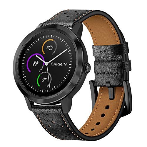 XZZTX Quick Release Lederen Horlogeband, Top Echt Lederen Vervanging Horlogeband met RVS Gesp Sluiting voor Vivoactive 3 / Vivomove HR Smartwatch