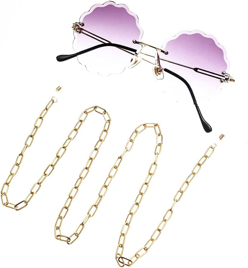 XJJZS Glasses Chain for Women Thick Chain for Glasses Lanyard Hip Hop Glasses Strap Sunglasses Cords Casual Trend Accessories (Color : A, Size : Length-70CM)