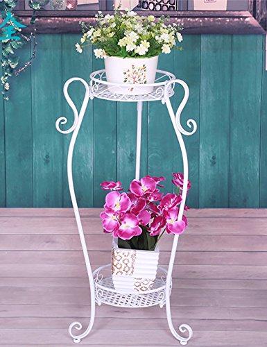 Fleur De Fer Rack Deux Couches Bonsai Shelf Balcon Salon Intérieur Rack Flower Outdoor ( couleur : Blanc , taille : L*H: 42*85cm )