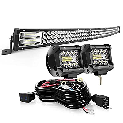 """AUSI LED Light Bar 50"""" Curved 684W Triple Row Light Bars + 2PCS 4in 60W LED Pods Off Road Driving Fog Lights with Rocker Switch Wiring Harness Kit for Trucks Polaris ATV SUV Boat Lighting"""