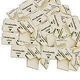 Anyasen Etiquette Fait Main a Coudre 150 Pièces Etiquettes en Tissu Fabriqué à la main Étiquettes pour Couture Bricolage,Beige,4x2cm