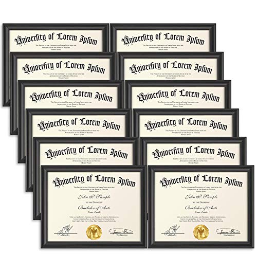 Icona Bay 8.5x11 (22x28 cm) Certificate Frames (Black, 12 Pack), Contemporary Diploma Frames 8.5 x 11, Composite Wood Document Frames for Walls or Table Top, Lakeland Collection