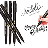 Hand Lettering Pens, Calligraphy Pen Brush Markers Set, Refillable, for Beginners Writing, Signature, Art Drawings, Illustrations, Bullet Journaling and More, Black Ink Pens Art Marker (5 Pack)