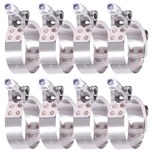 Hilitchi 8Pcs Stainless Steel T-Bolt Clamps with Rounded Band Edges Heavy Duty Turbo Intake Intercooler Clamp (41-46MM) for 1 1/4Inch