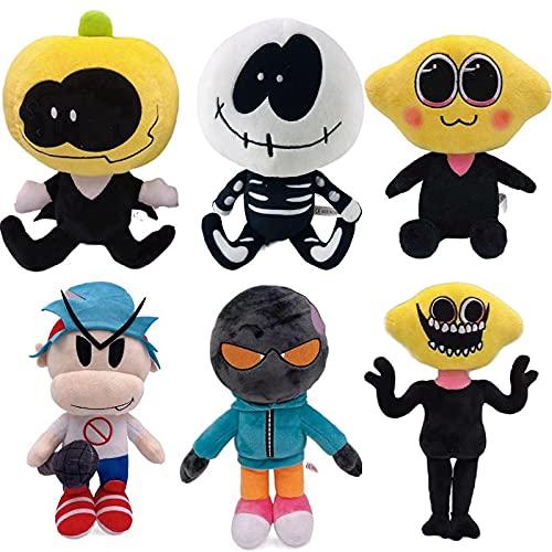 6 Uds 25Cm Viernes Noche Funkin Calabaza Calavera Bomberman Micrófono Niño Limón Juego Anime Personaje De Peluche De Juguete para Niños Niñas para Regalos De Cumpleaños