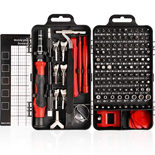 HIRALIY 135 IN 1 Feinmechanik Schraubendreher Set, Mini Reparatur Werkzeug Set, S2-Stahl Präzisionsschraubendreher Set für Telefon, PC usw, Schraubenzieher Set, Screwdriver Set (Rot)
