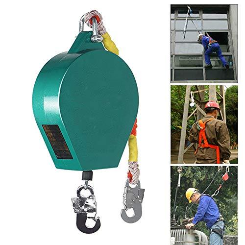 DFGENLY Dispositivo Anticaída Retráctil Móvil Freno de Cuerda Autoblocante Protección contra Caídas para Andamios, Construcción Industrial, Cuerda de Alambre, 150KG15m