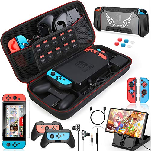 HEYSTOP Kit Accessori 16 in 1 per Nintendo Switch, Include Custodia Switch, Cover Protettive e Pellicola Protettiva, Joycon Grip, Auricolare, Joy con Cover, Supporto, Thumb Grip, Cavo USB