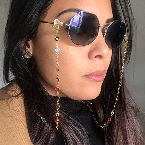 IYOU Cadena de gafas de imitación bohemio, cadena de cuentas doradas, antipérdidas, tiro de calle, gafas de sol de playa, correa de viaje antipérdida, cordón para mujeres y niñas