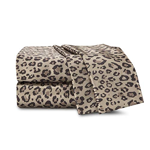 Seduction Satin Solid Sheet Set, Queen, Leopard