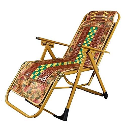 AWCPP Silla de Salón Tumbonas, Silla Plegable de la Estera de Bambú, Silla de Descanso de Almuerzo de Oficina Terraza Al Aire Libre Portátil Playa Reclinador de Verano,a